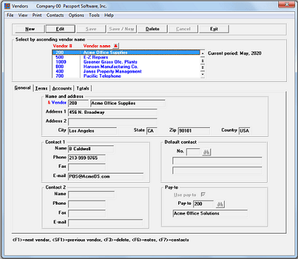 Screenshot of Passport Software's Accounts Payable Software