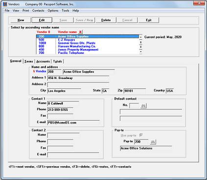 Screenshot of Passport Software's Accounts Payable Software
