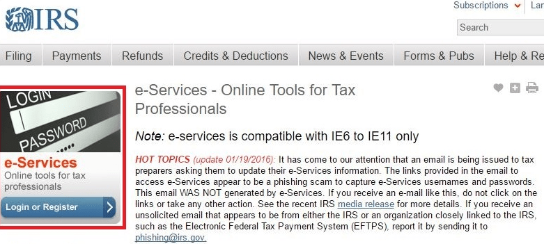 Picture of the irs e services website