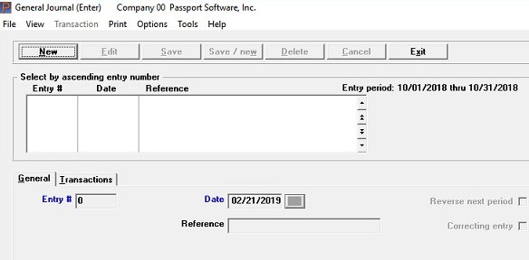 screen shot of general ledger accounting software