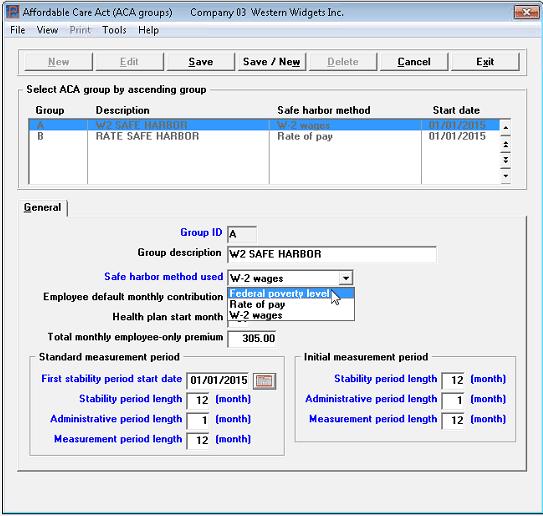Screenshot of our ACA software