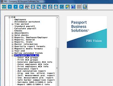 Our ACA software menu