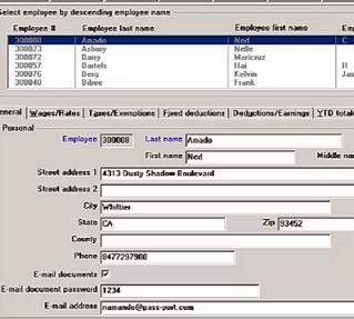 screenshot of our payroll software