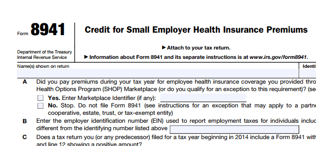 screen shot of tax form 8941
