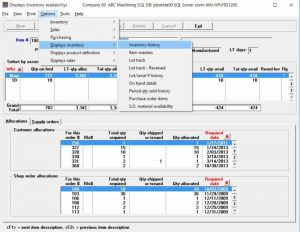 Passport Software's ERP software Inventory Availability screen