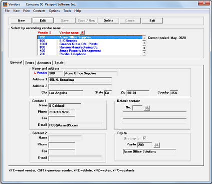 Screenshot of Passport Software's accounting software