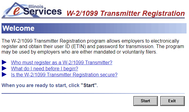 Screen shot of Illinois eServices Transmitter registration