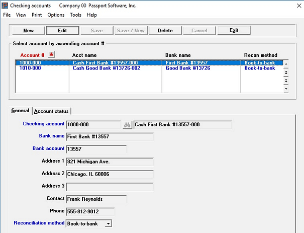 Screen shot of check reconciliation software