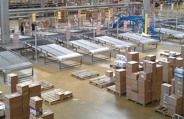 Picture of a warehouse that uses a barcode scanner to pack orders