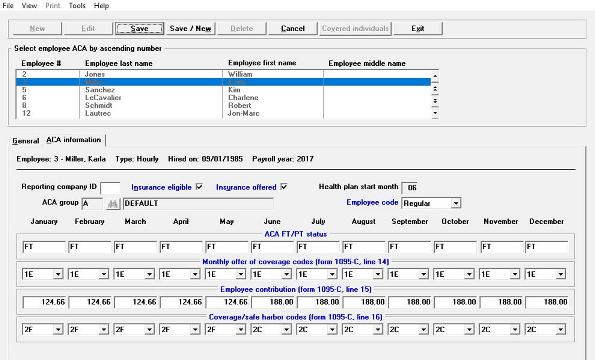 Screenshot of ACA software