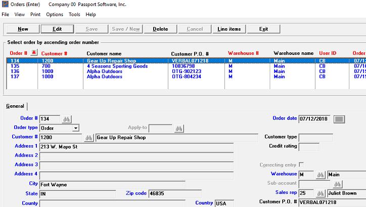 Order Entry software screen shot