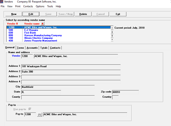 screenshot of accounts payable software