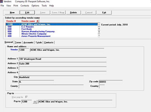 screenshot of accounts payable software
