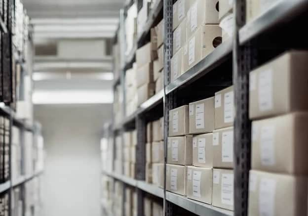 Picture of a distribution center with boxes