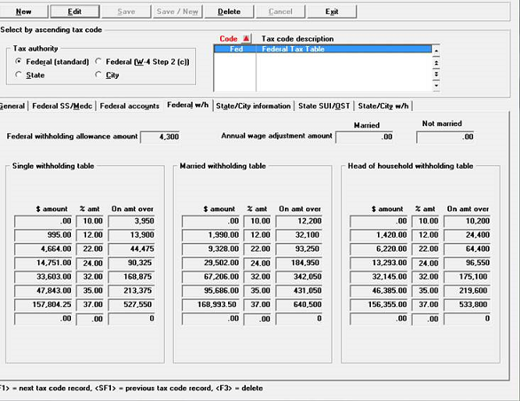 PBS Accounting Software Tax Table Screen