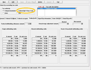 PBS Accounting Software Tax Table