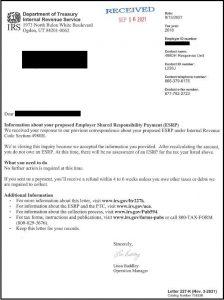 Screenshot of an ACA penalty notificaton